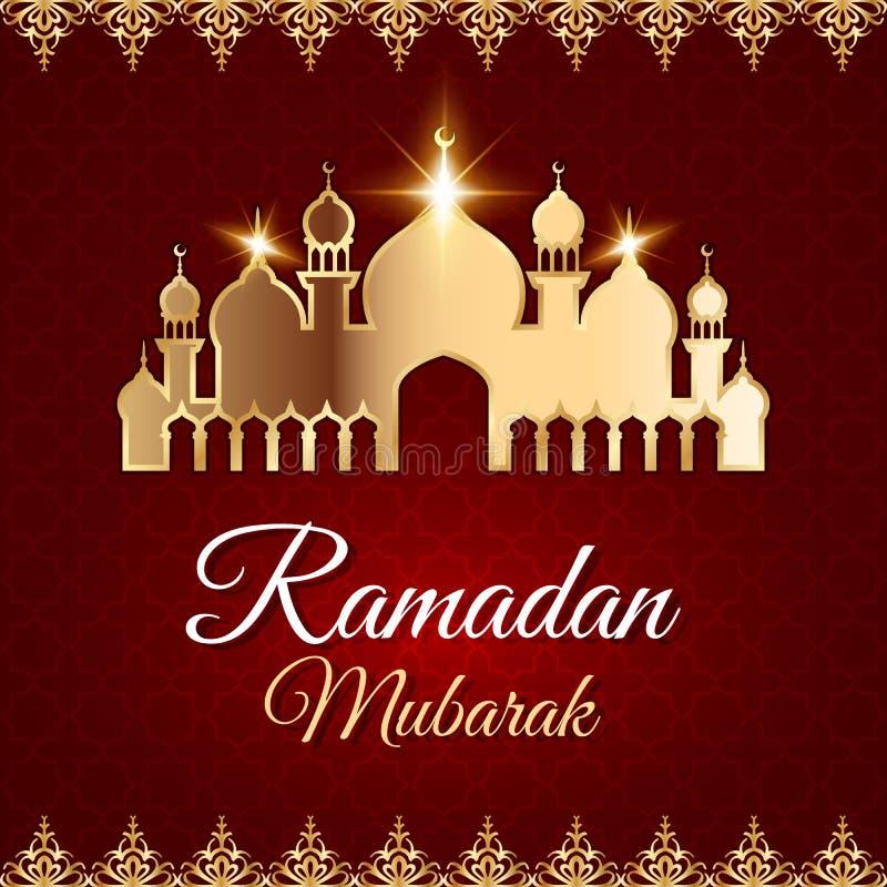 Ramadan Mubarak Greeting Card met moskee stock illustratie