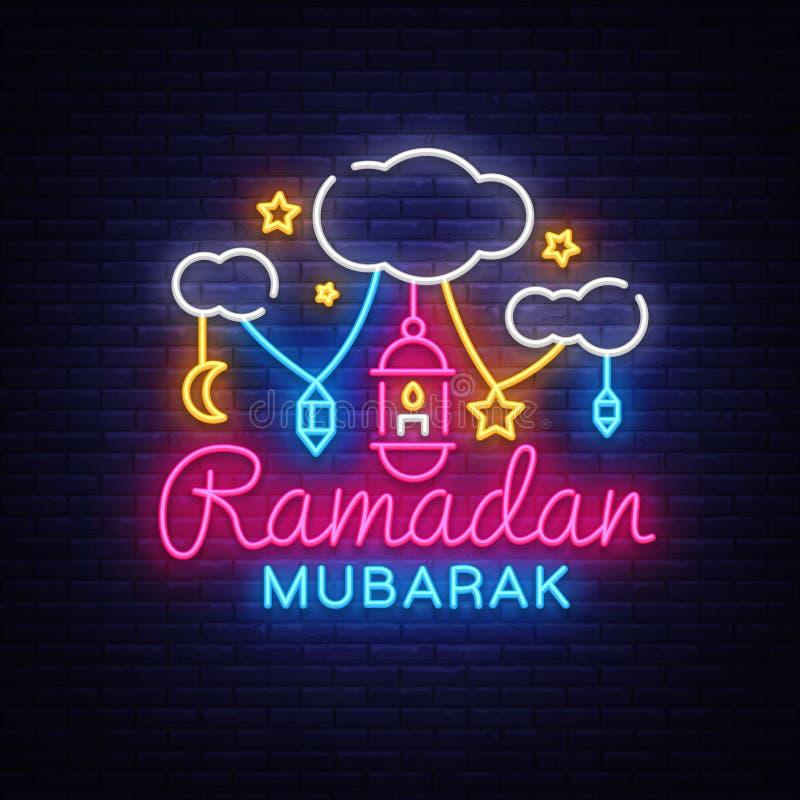 Ramadan Mubarak Greeting Card Vetora Sinal de néon de Ramadan Mubarak, bandeira de néon Mês do jejum para muçulmanos, muçulmanos ilustração royalty free