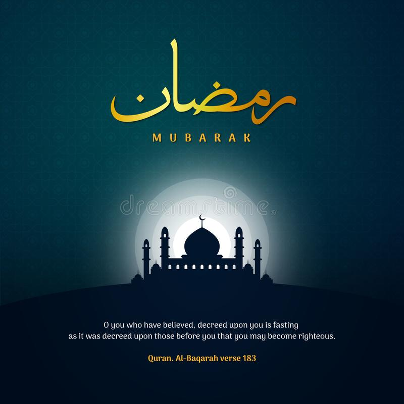 Ramadan mubarak greeting template islamic background  illustration with ramadhan arabic calligraphy and mosque silhouette stock illustration