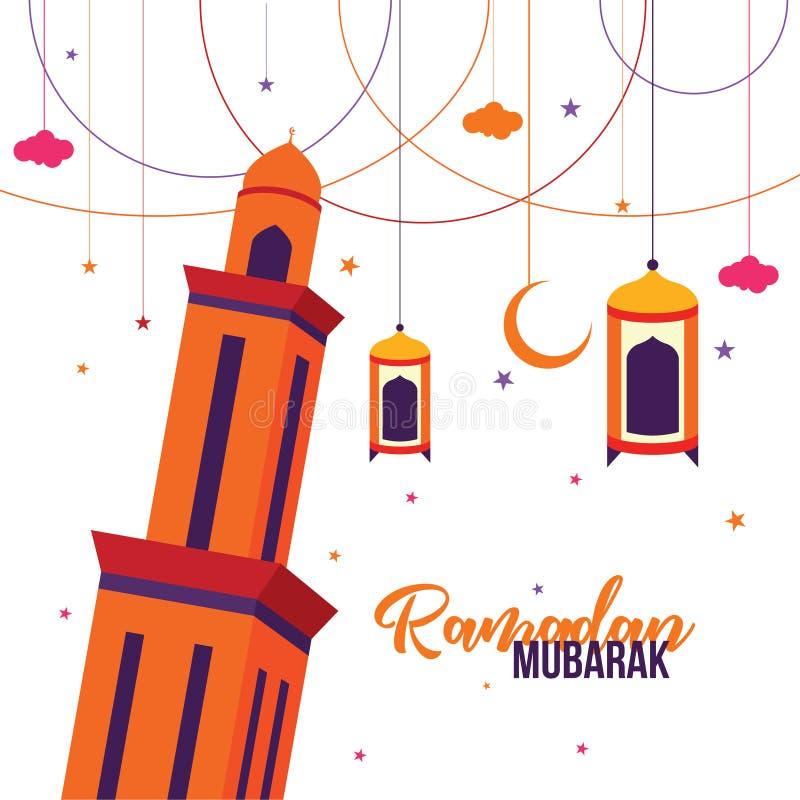 Ramadan Mubarak Grußkarte Design mit Turmmoschee, Laterne, Halbmond und Sternvektorbild Illustration lizenzfreie stockbilder