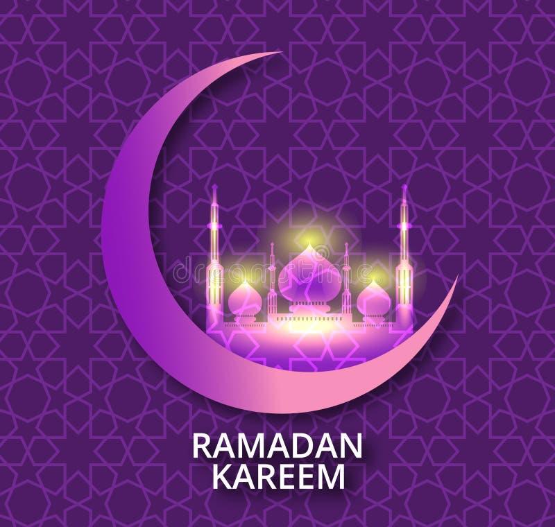 Ramadan Mubarak hälsningkort Skinande dekorerad växande måne med moskén, text Ramadan Kareem på lilor royaltyfri illustrationer