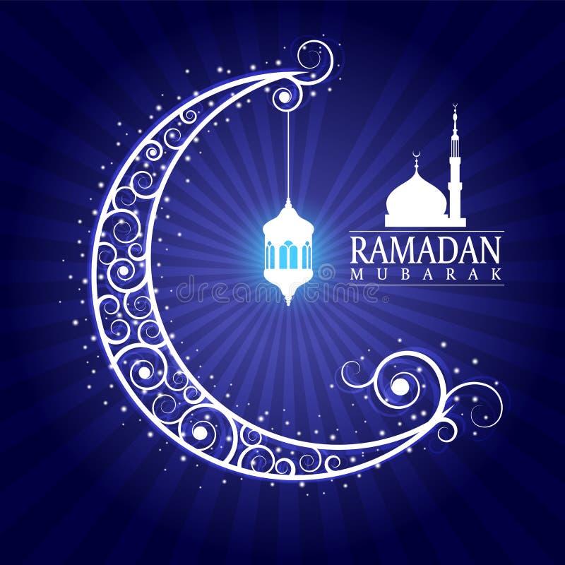 Ramadan Mubarak - hangende lampen op maan en masjid op blauw vectorontwerp als achtergrond royalty-vrije illustratie