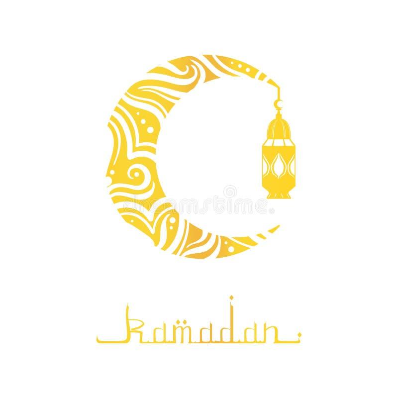 Ramadan Mubarak i Kareem kartka z pozdrowieniami z Arabską kaligrafią, księżyc i Tradycyjną Latarniową Wektorową ilustracją, ilustracji