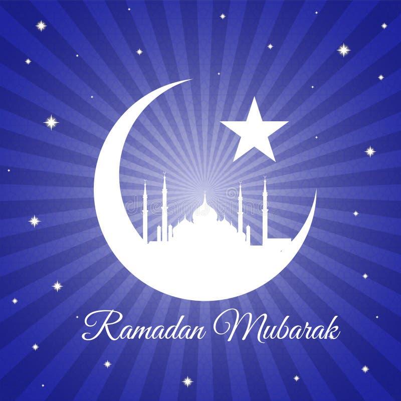 Ramadan Mubarak - księżyc masjid na fiołkowym błękicie i gwiazda zaświecamy wektorowego tło ilustracji