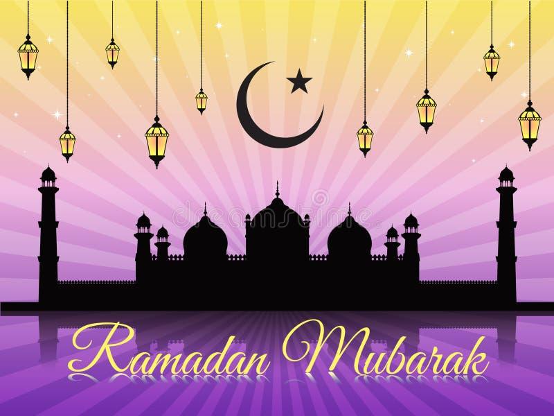 Ramadan Mubarak - księżyc masjid na fiołkowym wektorowym tle i (Badshahi meczet) royalty ilustracja