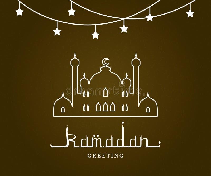Ramadan Mubarak och Kareem Greeting Card, arabisk kalligrafi, moské och traditionell lyktavektorillustration royaltyfri illustrationer