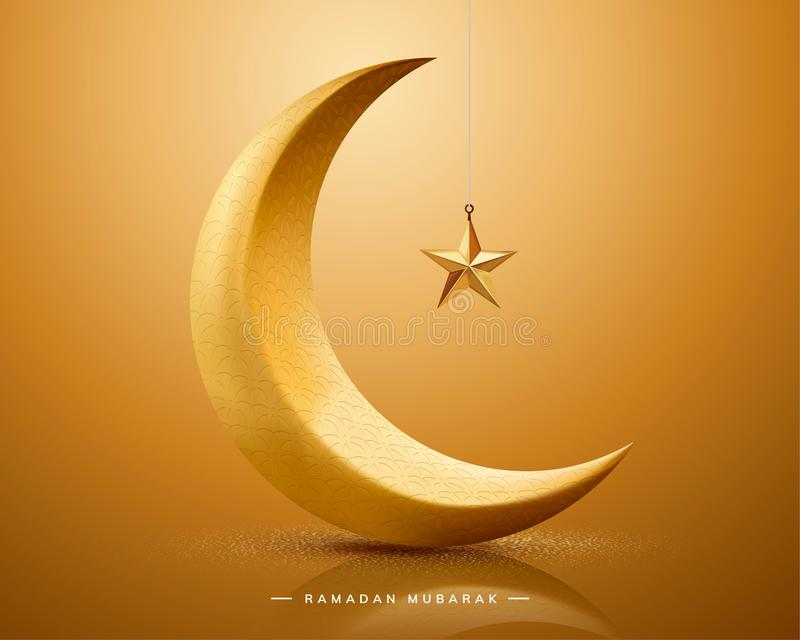 Ramadan Mubarak z półksiężyc royalty ilustracja