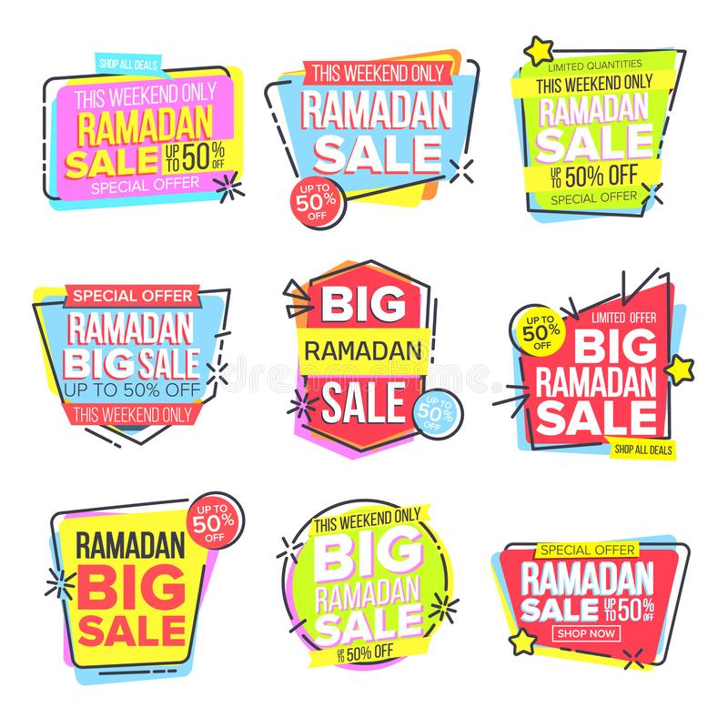 Ramadan Sale Banner Set Vector Eid Background Erbjudandeetikett Stora toppna Sale Islamisk affisch Arabisk mall Ramazan royaltyfri illustrationer