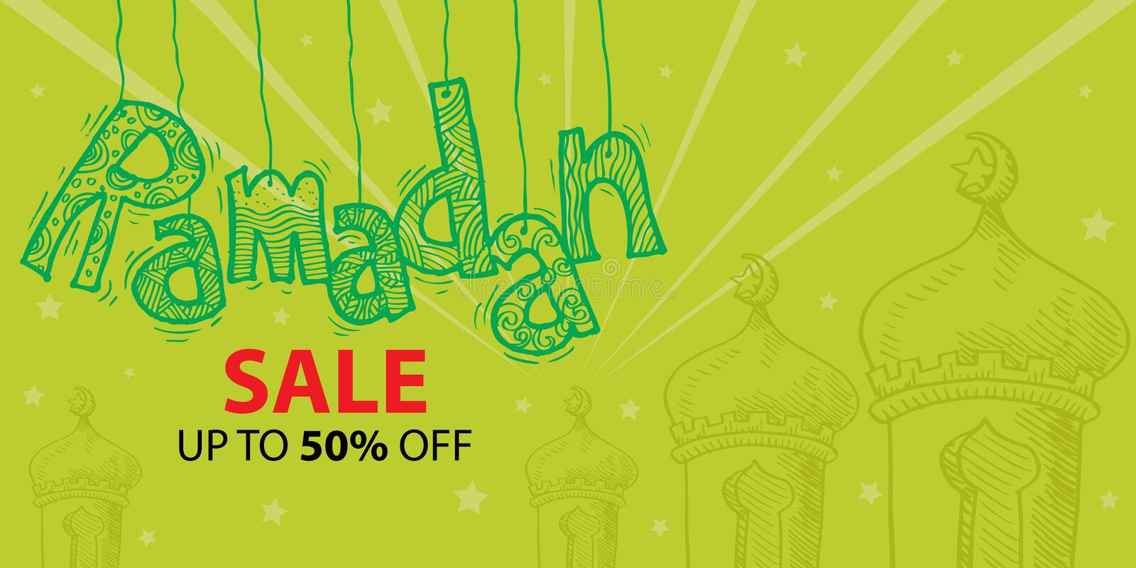 Ramadan Sale Banner Vector vektor illustrationer