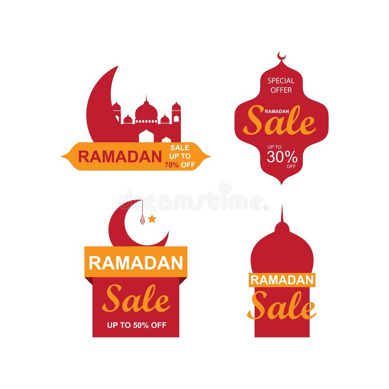 Ramadan sale banners set,discount and best offer tag, label or sticker set on occasion of Ramadan Kareem and Eid Mubarak royalty free illustration