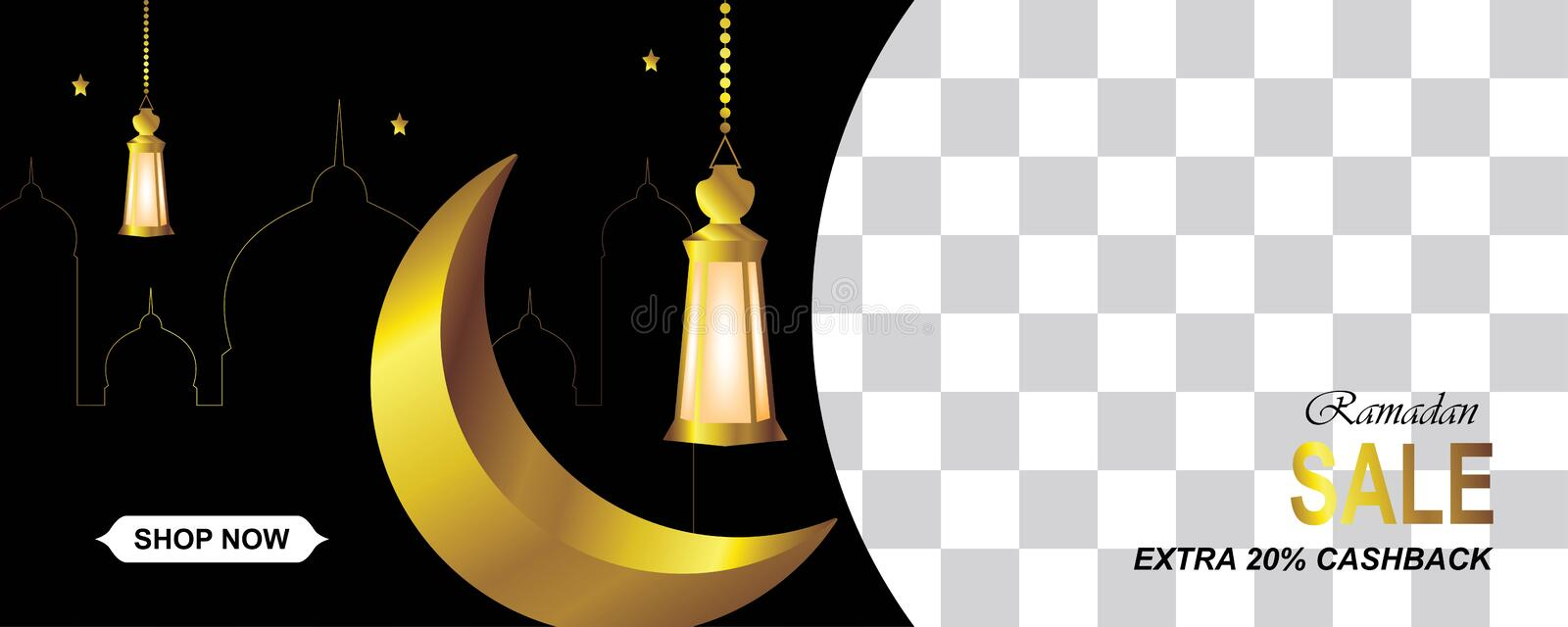 Ramadan sale horizontal with gold crescent,lanterns,mosque and stars vector illustration