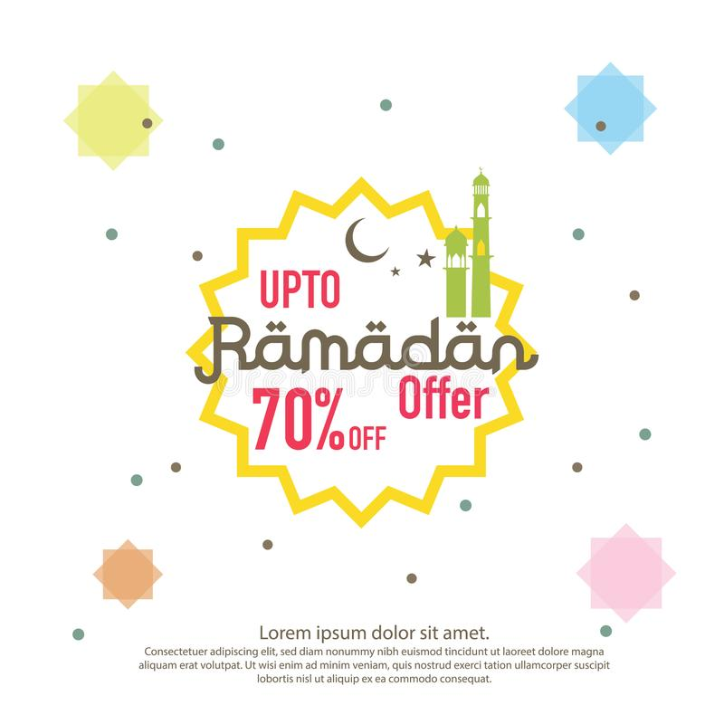 Ramadan sale offer banner design. Promotion poster, voucher, discount, label, greeting card of Ramadan Kareem and Eid Mubarak cele stock illustration