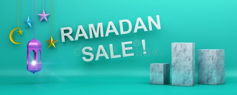 Ramadan Sale-Text, Netztitel oder Fahnenentwurf mit sichelförmigem Mondstern der Laterne stock abbildung