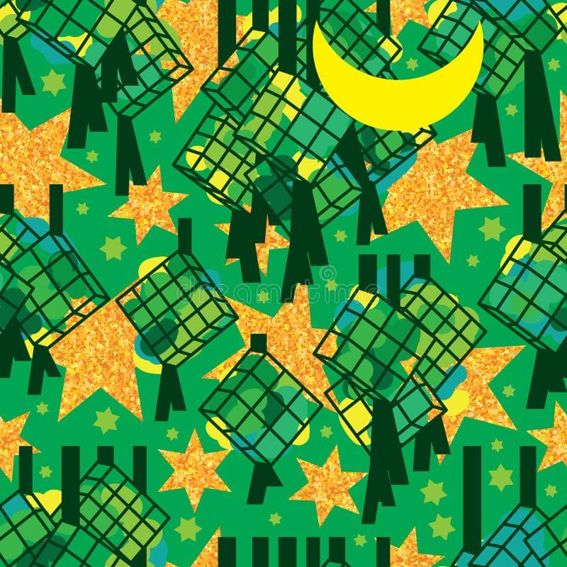 Ramadan sex stjärnaguld blänker den sömlösa modellen för Ketupat silhoutte stock illustrationer