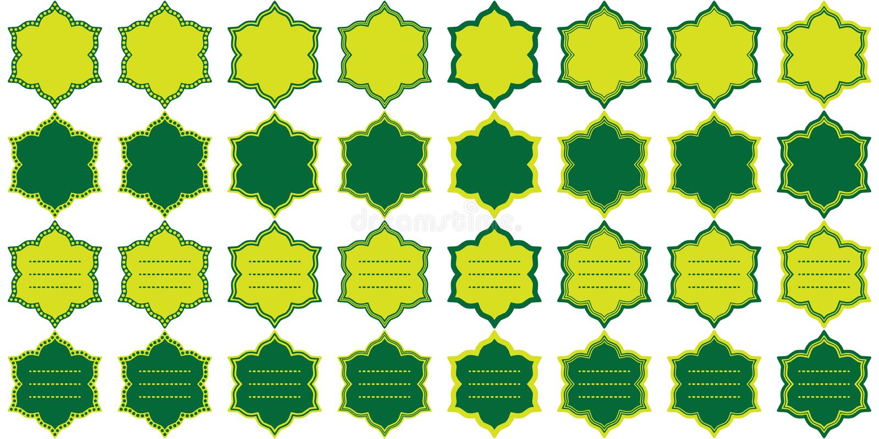 Ramadan sex uppsättning för stjärnakortmall vektor illustrationer