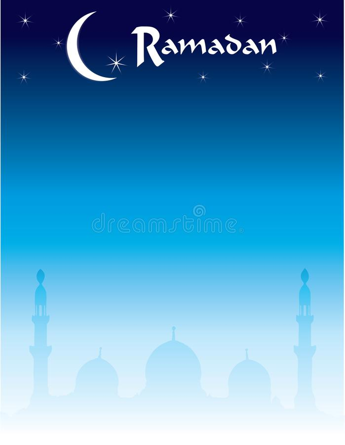 Moon and Stars Ramadan Skyline with Mosque Silhouette. Ramadan Skyline with Mosque Postcard Flyer Background Template Poster Flyer Invitation Horizontal stock illustration