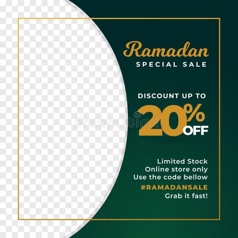 Ramadan specjalna sprzedaż 20% z tło projekta z przyrodnim przejrzystym wizerunku miejsca właścicielem prosta sztandaru plakata p ilustracja wektor