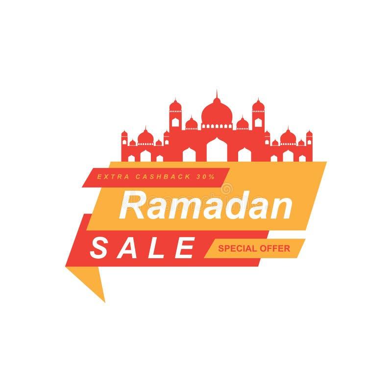 Ramadan sprzedaży sztandar, oferty etykietka, etykietka lub majcher, dyskontowa i najlepszy, ustawiamy przy okazji Ramadan Kareem ilustracji