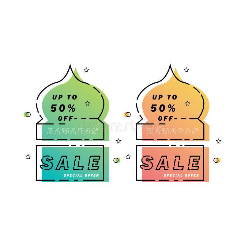 Ramadan sprzedaży sztandaru meczetowa kreskowa sztuka, oferty etykietka, etykietka lub majcher, dyskontowa i najlepszy, ustawiamy ilustracja wektor