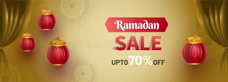 Ramadan sprzedaż, sieć chodnikowiec, sztandaru projekt z lampionem lub mieszkanie 70% z ofert na kwiecistym wzorze, ilustracja wektor