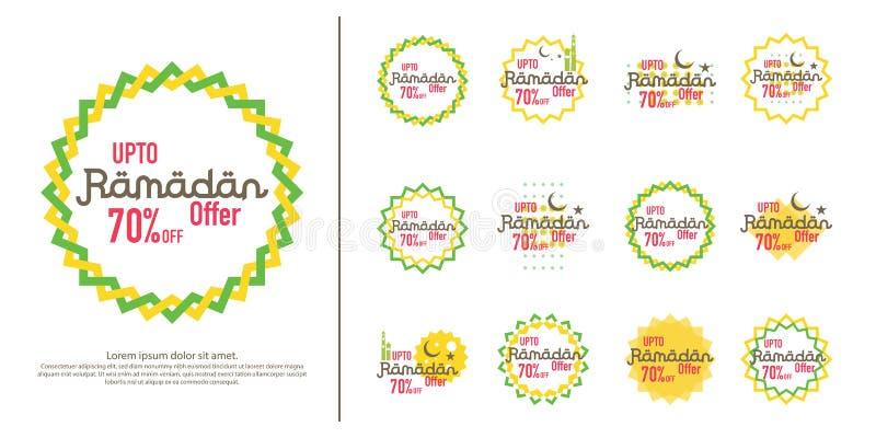 Ramadan sprzedaży oferty sztandaru ustalony projekt Promocyjny plakat, alegat, rabat, etykietka, kartka z pozdrowieniami Ramadan  ilustracji