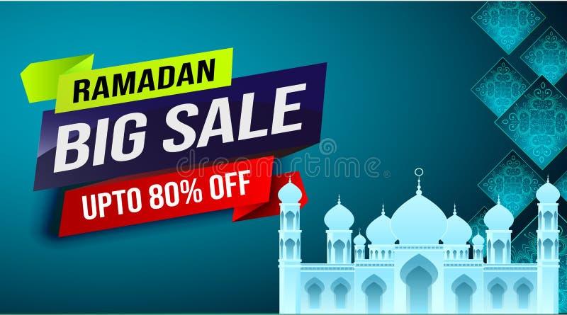 Ramadan stora Sale, rengöringsduktitelrad eller baneraffischdesign med den växande moskén och framlänges 80% av erbjudanden på bl royaltyfri illustrationer