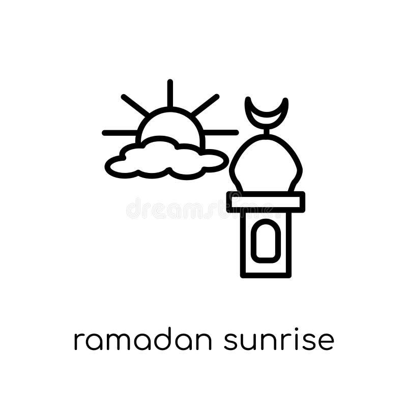 Ramadan Sunrise-pictogram In moderne vlakke lineaire vectorramadan S vector illustratie