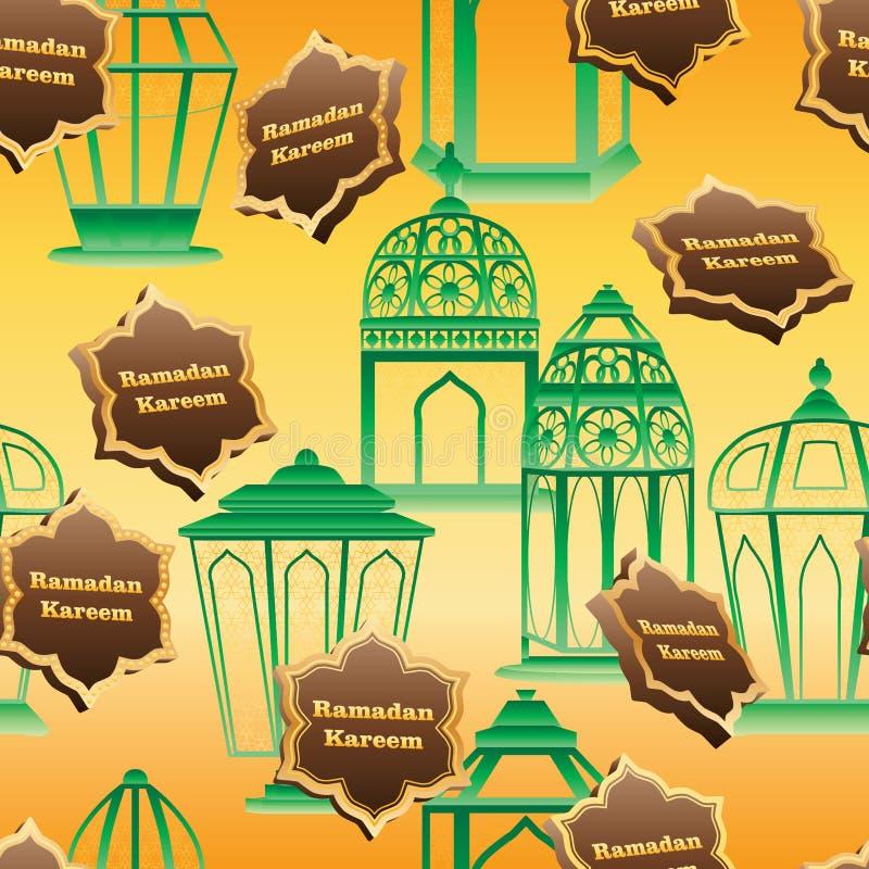 Ramadan sześć gwiazdowych 3d lampionów jak jedzenie paczki bezszwowy wzór royalty ilustracja