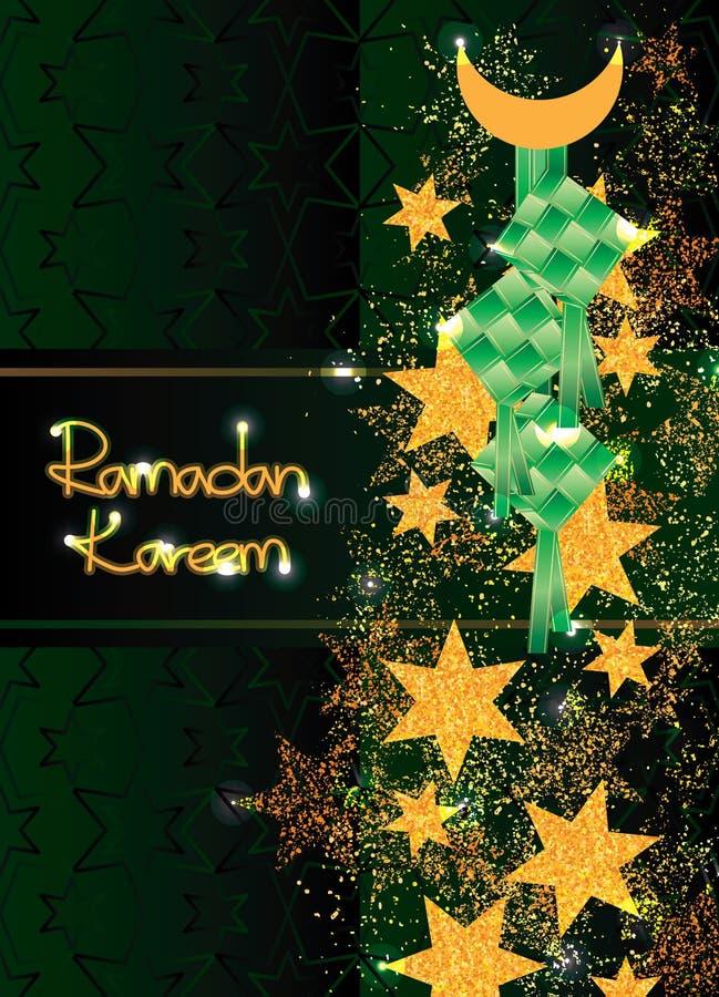 Ramadan sześć gwiazdowych złocistych błyskotliwości Ketupat vertical karty skutków royalty ilustracja