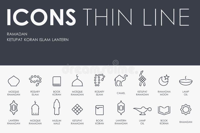 Ramadan Thin Line Icons stock illustratie