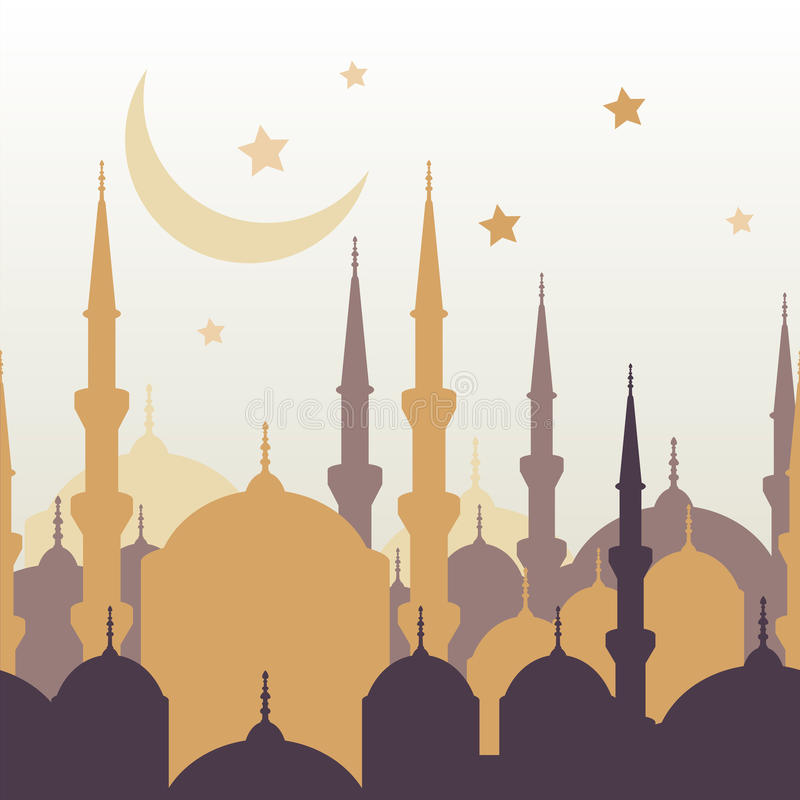 Ramadan vector greeting card with silhouette of golden mosque, m stock illustration