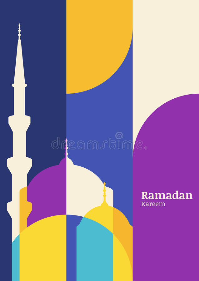 Ramadan vector greeting card with silhouette of mosque. Abstract vector illustration