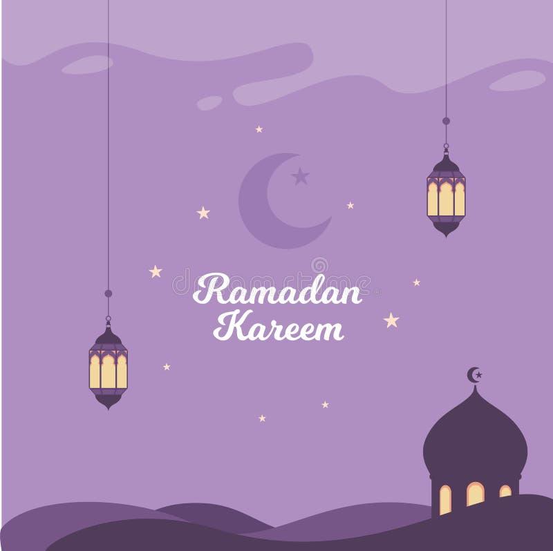 Ramadan Vector Illustration Background with lantern and Mosque stock illustration