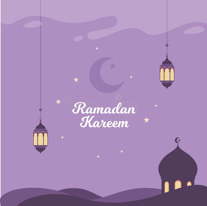 Ramadan Vector Illustration Background met lantaarn en Moskee stock illustratie