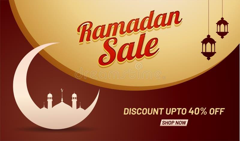 Ramadan-Verkauf, Netzfahnendesign mit sichelförmigem Mond und Moschee stock abbildung