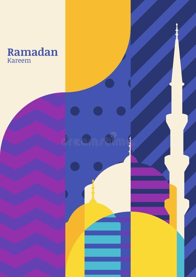 Ramadan wektorowy kartka z pozdrowieniami, sylwetka meczet z geometri ilustracja wektor