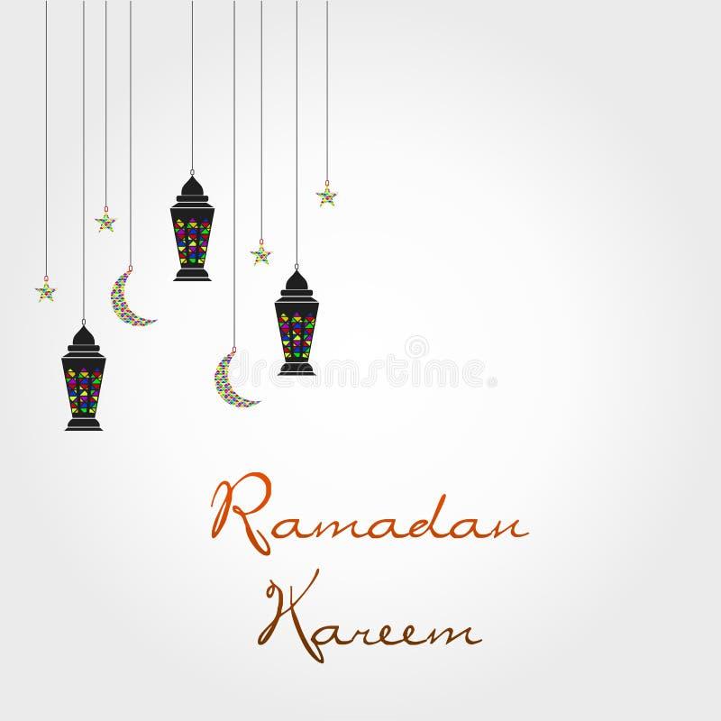 Ramadan Wektorowy szablon z Kolorowymi księżyc i lampionem ilustracji