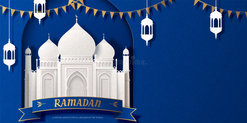Ramadan witte moskee royalty-vrije illustratie