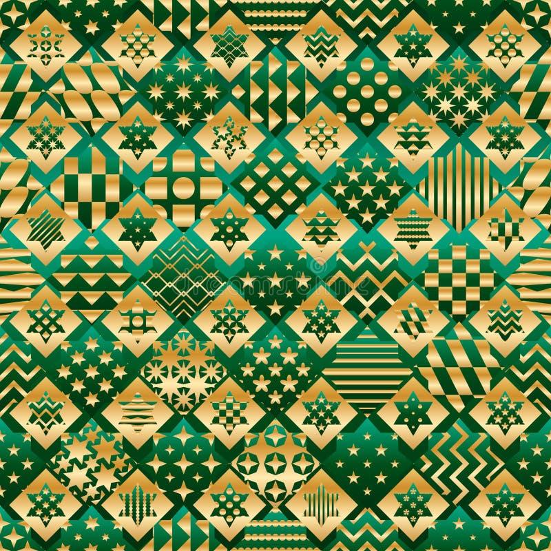 Ramadanbeståndsdelen klippte sex modell för form för diamant för grön guld för stjärna sömlösa stock illustrationer