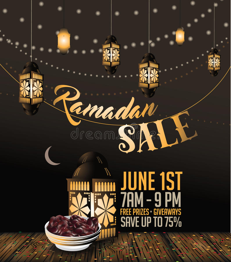 Ramadanförsäljningsbakgrund med kopieringsutrymme royaltyfri illustrationer