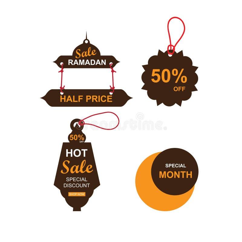 Ramadanförsäljningsbaner uppsättning, rabatt och bästa erbjudandeetikett, etikett eller klistermärke ställde in då och då av Rama stock illustrationer
