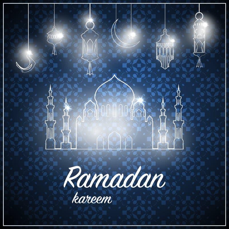 Ramadanh?lsningkort p? bl? bakgrund ocks? vektor f?r coreldrawillustration Den Ramadan Kareem hj?lpmedelRamadan ?r gener?s vektor illustrationer