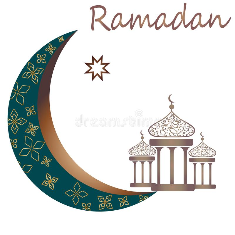 Ramadankareem med den guld- lyxiga v?xande m?nen och lyktan, vektor f?r h?lsa kort f?r mall islamisk utsmyckad royaltyfri illustrationer