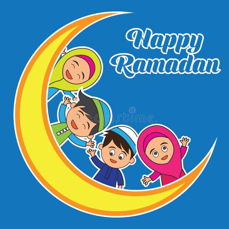Ramadankareem/mubarak, lycklig ramadan hälsningdesign för muselmaner helig månad, vektorillustration royaltyfri bild