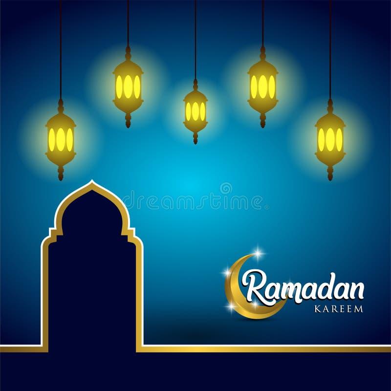 Ramadankareembakgrund, illustration med arabiska lyktor, moskékupol och guld- utsmyckat halvmånformig, på blå bakgrund EPS 10 c royaltyfri illustrationer