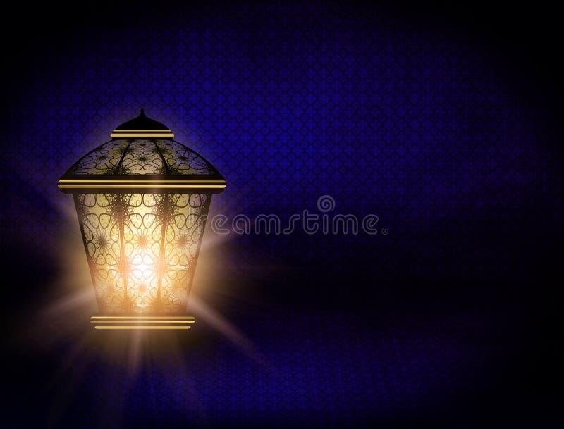 Ramadankareembakgrund med den skinande lyktan vektor illustrationer