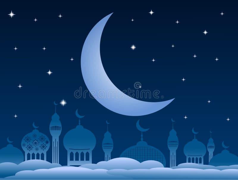 Ramadankareembakgrund med moskén och måne på natthimmel Vec royaltyfri illustrationer