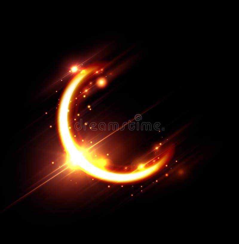 Ramadankareemkort med månen och signalljus stock illustrationer