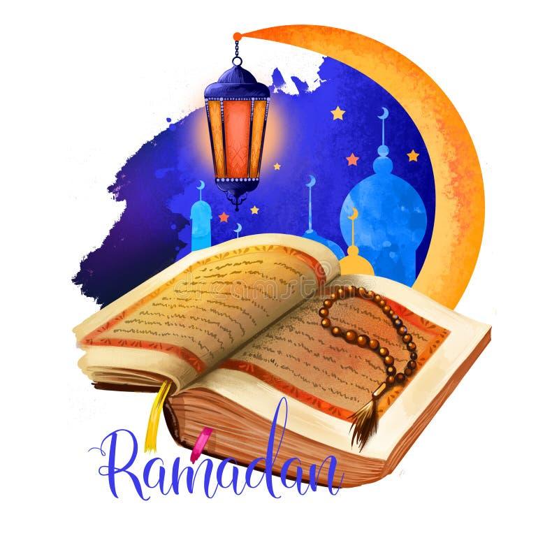 Ramadhan eller Ramathan Ramadan Ramazan, Ramzan isolerade den heliga boken för kareem, pärlor och moskékonturn, växande måne Muse stock illustrationer