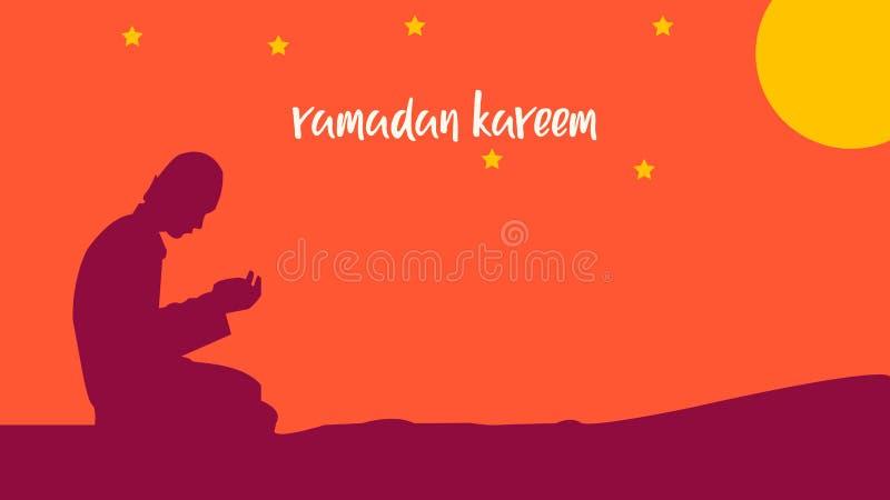 Ramadan kareem background with men praying stock illustration